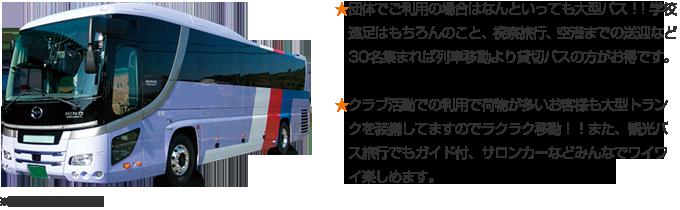 ★団体でご利用の場合はなんといっても大型バス!!学校遠足はもちろんのこと、視察旅行、空港までの送迎など30名集まれば列車移動より貸切バスの方がお得です。★クラブ活動での利用で荷物が多いお客様も大型トランクを装備してますのでラクラク移動!!また、観光バス旅行でもガイド付、サロンカーなどみんなでワイワイ楽しめます。
