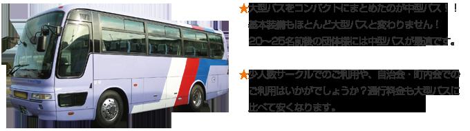 ★大型バスをコンパクトにまとめたのが中型バス!!基本装備もほとんど大型バスと変わりません!20~25名前後の団体様には中型バスが最適です。 ★少人数サークルでのご利用や、自治会・町内会でのご利用はいかがでしょうか?通行料金も大型バスに比べて安くなります。